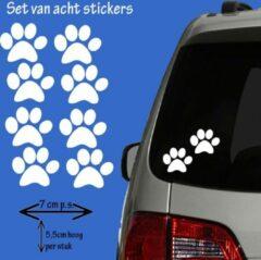 Familiestickers Hondenpootjes / hondenpootje - wit - autostickers - 8 stuks - 5,5 x 7 cm