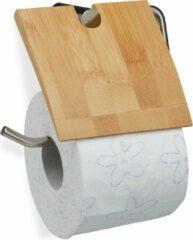 Naturelkleurige Relaxdays wc rolhouder - toiletrolhouder - bamboe - hout - hangend - closetrolhouder