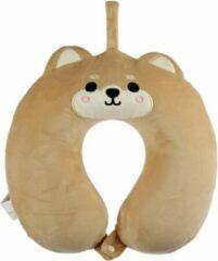 Bruine Merkloos / Sans marque Hond/puppy nekkussen met ophanglus voor kinderen - Knuffeldier - Kussentjes en slaapmaskers voor onderweg, in het vliegtuig of in de auto