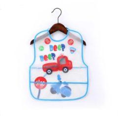 Blauwe MINIIYOU Duo pack 2 stuks | Slab Baby en peuter gebloemd bloemenprint | Kunststof Slabber met opvang zakje | Waterproof slabbetjes | Baby en Peuter Slabbetje