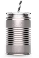 Zilveren Asobu - Mason Jar I can - 540 ml - Zilverkleurig