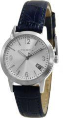 Prisma P.2187 Horloge staal/leder zilverkleurig-blauw