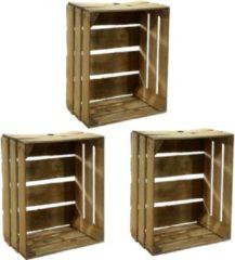 Bruine Merkloos / Sans marque 3x Gebruikte houten fruitkisten 30 x 40 x 50 cm - Decoratie voor huis en tuin