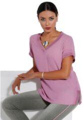 Roze Creation L blouse met glanzend tricotband