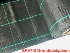 Zwarte Agrosol Campingdoek - Gronddoek - Worteldoek 5,25M X 9M totaal 47,25M² + 15 GRATIS grondpennen. Hoge kwaliteit, lucht en water doorlatend.