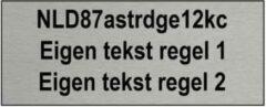 Zilveren CombiCraft Droneplaatje met exploitantnummer in Aluminium 50x20mm + eigen tekst