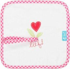 Lief ! - Speendoekje/ knuffeldoekje - Wit met roze - 23 x 23 CM