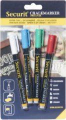Securit 4x Gekleurde ste vloeibare krijtstiften ronde punt 1-2 mm - Krijtstiften/hobby artikelen/kantoor benodigheden