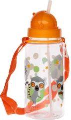 Puckator Drinkfles met rietje lemur - 450ML - Oranje