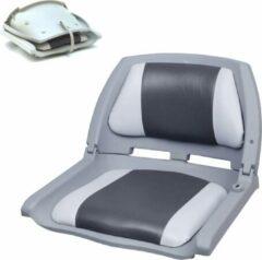 [pro.tec]® Klapstoel - bootstoel - brede zit - Grijs en Wit