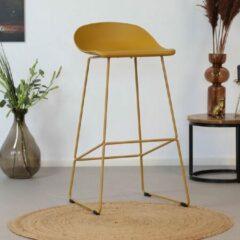 Livin24 Barkruk Ellen geel Scandinavisch design 76 cm