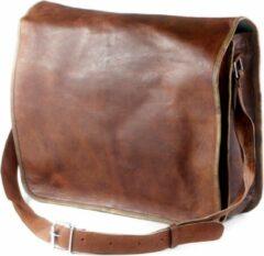Merkloos / Sans marque Laptoptas 17 inch – Vintage Look Tas Bruin Echt Leer - Boekentas Almeria 17 – Handgemaakte A3 Aktetas – Gift verpakking