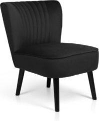 Lifa-Living LIFA LIVING Vintage Fauteuil, Fluweel en Houten Lounge stoel, Zwarte Woonkamerstoel, Moderne Stoel voor Woonkamer, Slaapkamer, Eetkamer, 58 x 70 x 72 cm