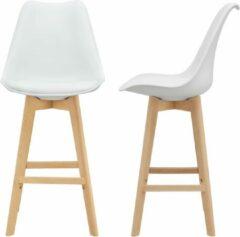 En.casa Design barkruk set van 2 kunstleer en beuken poten wit
