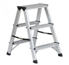 Grijze Inklapbaar trapje dubbel / huishoudtrapje - 3 treden - 59 x 40 x 56 cm - max 150 kg - aluminium trap