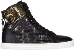 Nero Hogan Rebel Scarpe sneakers alte donna in pelle r182 allacciato cinturino