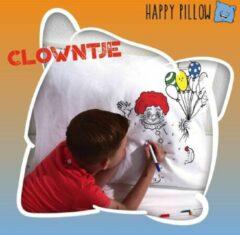 Rode Happy Pillow - Clowntje kleurplaat op kussensloop inclusief textielstiften