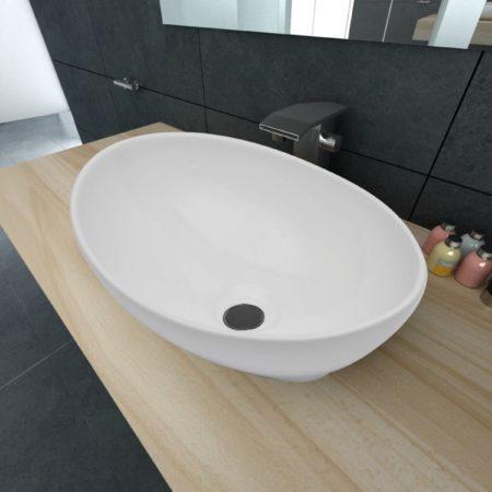 Afbeelding van Witte VidaXL Luxe keramische wasbak ovaal 40 x 33 cm (wit)