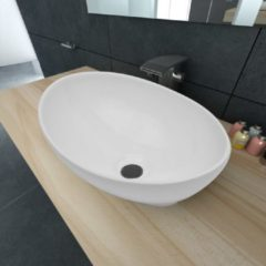 Witte VidaXL Luxe keramische wasbak ovaal 40 x 33 cm (wit)