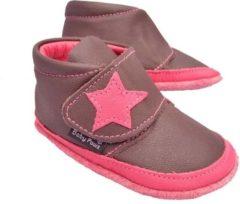 Bruine Baby Paws babyslofjes Jak Rap Star Chocolade Fuchsia maat 0 = ( 9,5 cm)
