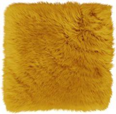 Dutchskins Stoelkussen - zitkussen schapenvacht - stoelpad - zitpad - zetel kussen oker geel rond