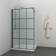 Badstuber Soho douchewand mat zwart geruit 120x195cm