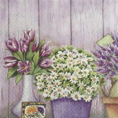 Paarse TiFlair - Servetten - 33 x 33 - Lunchservetten - Serie Lilac Flowers with Heart