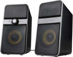 Renkforce 2.0 PC-luidsprekers Bluetooth, Kabelgebonden 6 W Zwart, Zilver