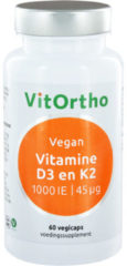 VitOrtho Vitamine D3 1000 IE en K2 45 mcg Vegan 60 vegicaps