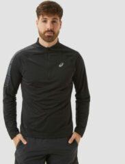 Asics - Icon L/S 1/2 Zip - Sportshirt maat S, wit/grijs/zwart/olijfgroen/zwart/olijfgroen/rood/zwart/olijfgroe