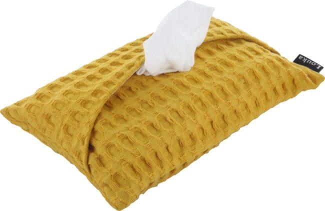 Afbeelding van Louka hoes voor babydoekjes wafel oker geel