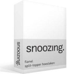 Snoozing flanel split-topper hoeslaken - 100% geruwde flanel-katoen - Lits-jumeaux (200x210/220 cm) - Wit