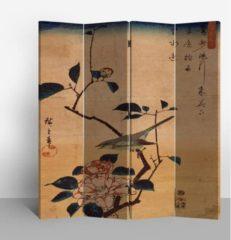 Gele Fine Asianliving Chinees Kamerscherm Oosters Scheidingswand 4 Panelen Vogel en Lotusbloemen Vintage L160xH180cm