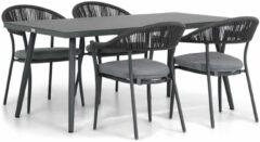 Antraciet-grijze Santika Furniture Santika Vivian/Valencia 170 cm dining tuinset 5-delig