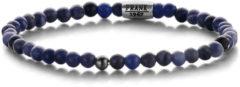 Frank 1967 Courageous Beads 7FB 0317 Natuurstenen Armband met Staal Element - Sodaliet 4 mm - Lengte 20 cm - Blauw