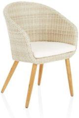 Beige IMPRESSIONEN living Outdoor-Armlehnstuhl, mit Sitzkissen, modern, Kunststoffrattan, Massivholz