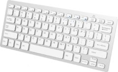 BTH Draadloos Toetsenbord Bluetooth Wireless Keyboard Dun Universeel – Wit