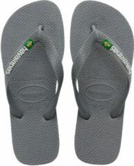 Grijze Havaianas Brasil Logo Heren Slippers - Steel Grey/Steel Grey - Maat 39/40