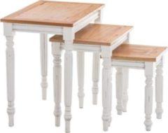 CLP 3er Satztisch Set TABEA aus Mahagoni-Holz, 3 x Beistelltisch im Landhaus-Stil, wunderschöne Verzierungen