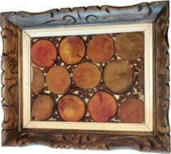 Transparante KAAT by Kaat Cumps Creative Dienblad Wood & Coffee Handgemaakt door Kaat Cumps Een oude lijst ingelegd met houten schijfjes en koffiebonen. origineel stuk slechts 1 van gemaakt.