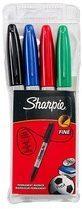 Sharpie permanente marker, fijn, etui van 4 stuks in geassorteerde kleuren