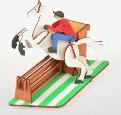 Rode De Bouwplaats Bouwpakket 3D Puzzel Pennenbak Paardensport Concours Hippique Paardrijden van hout- kleur