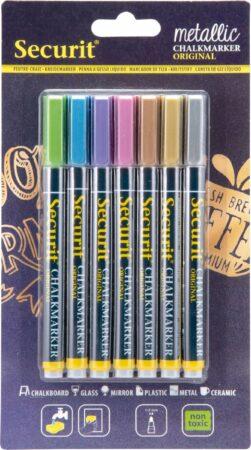 Afbeelding van Securit 7x Metallic gekleurde vloeibare krijtstiften ronde punt 1-2 mm - Krijtstiften/hobby artikelen/kantoor benodigheden