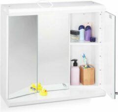 Witte Relaxdays Spiegelkast LED stopcontact 3 deuren badkamer hangkast badkamerkast