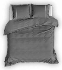Antraciet-grijze Warme Flanel Eenpersoons Dekbedovertrek Stripe Antraciet/Wit | 140x200/220 | Hoogwaardig En Zacht | Ideaal Tegen De Kou
