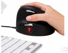 R-Go Tools Bedrade Verticale Ergonomische Muis HE Break (groter dan 185 mm) Optisch voor Rechtshandige gebruikers 1,6 m USB-A kabel Zwart, zilver