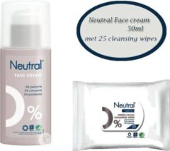 Neutral face cream 50ml met een pakje Neutral Cleaning wipes (25st)