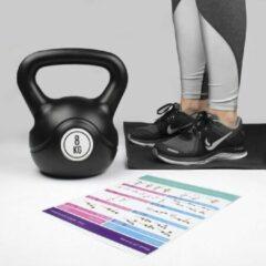 Zwarte Kettlebell 8 KG black binnen en buiten sporten en fitness