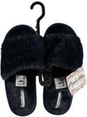 Marineblauwe Blauwe huisslippers/instapsloffen/pantoffels met bont voor dames - Blauwe slippers voor dames 41-42