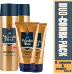 Vergulde Hand - 2x Aftershave Balsem-100ml en 2x scheerschuim 250ml met een houten kwast